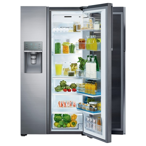 Side by side Full No Frost Samsung RH57H90507F, Food SwowCase, 570 l, Clasa A+, H 177 cm, Inox